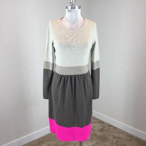 Eliza J M Beige Pink Colorblock Knit dress
